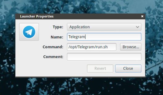 How to create Telegram louncher on Gnome menu