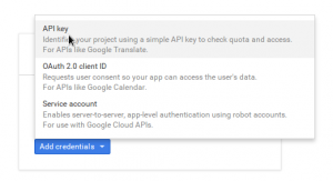 "Choose ""API key"""